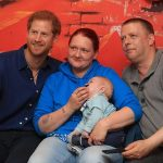 Prince Harry meets Lewis Maloy and his parents KerryAnne Rhodes and Andrew Maloy during a visit to Leeds Childrens Hospital