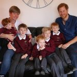 Prince Harry meets Oliver Rooney left who has Wolf Hirschhorn Syndrome with mum Elizabeth left and brothers Samuel Jack Joseph and Thomas who are receiving a garden make over from WellChil