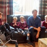 Prince Harry meets Oliver left and his family including three of his brothers on sofa with Harry and hears more about some of the difficulties Oliver faces as a result of his condition