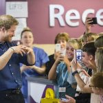 Prince Harry meets staff patients and their families during a visit to Leeds Childrens Hospital