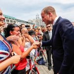Prince William Duke of Cambridge greets members of the public gathered at the Pariser Platz as royal fever sweeps Berlin