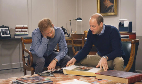 Prince William and Harry look at Princess Diana's family album Photo (C) ITV