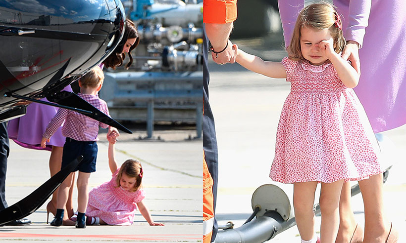 Princess Charlotte breaks down in tears after taking a tumble on royal tour Photo (C) GETTY IMAGES