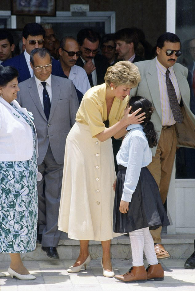 CAIRO, EGYPT - MAY 12: Princess Diana With Ten Year-old Heba Salah Whilst Visiting The Institute For Polio Rehabilitation, Cairo. (Photo by Tim Graham/Getty Images)