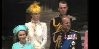 Princess Diana wedding The Queen looked thrilled as the couple walked up to the front Photo (C) THAMESTV