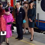 Queen Elizabeth Prince Philip and Catherine Duchess of Cambridge at Train Station