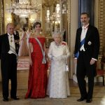 Queen Elizabeth her husband Prince Philip Spains King Felipe and his wife Queen Letizia pose for a group photograph before a State Banquet at Buckingham Palace