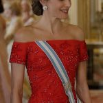Queen Letizia plumped for her countrys national colour and stunned in a bejewelled red gown which accentuated her curves