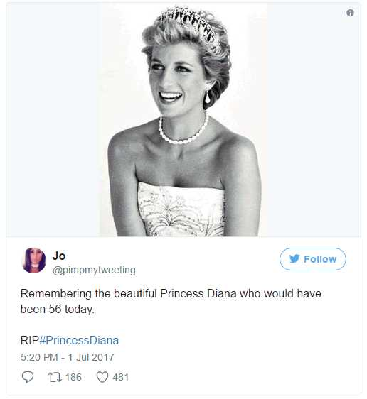 Remembering the beautiful Princess Diana who would have been 56 today. Photo (C) TWITTER