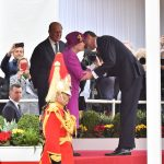 Spains King Felipe VI greets the monarch warmly during Wednesdays official welcome ceremony on Horse Guards Parade