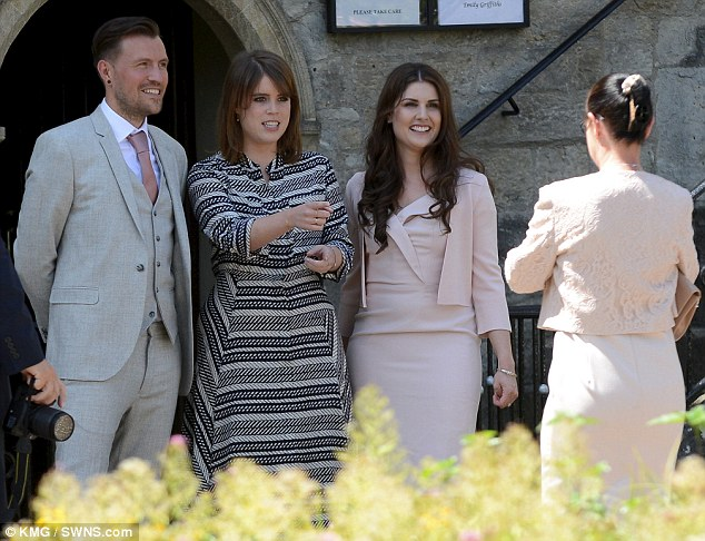 Special guest Newylweds Ben, left, and Emily Shaw, right, with Princess Eugenie on Friday