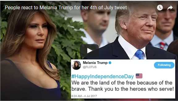 Taking to her Twitter account on Tuesday was Melania Trump as the first lady posted a routine greeting to observe the 4th of July