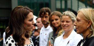 The Duchess of Cambridge speaks with ex tennis players Kim Clijsters second from right and Martina Navratilova