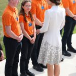 The Duchess of Cambridge speaks with workers from the Commonwealth War Graves Commission