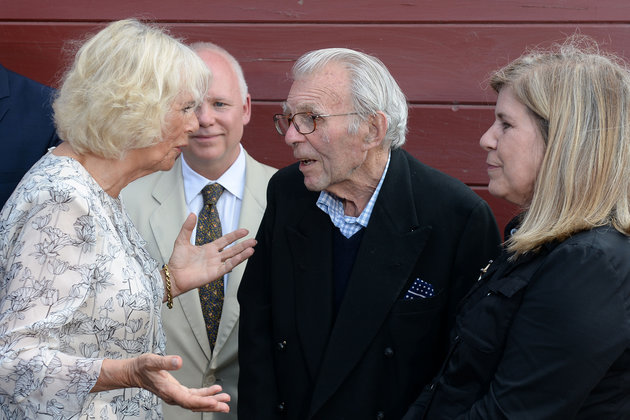 The Duchess of Cornwall meets war veteran Edward Rose, 92, who was incarcerated in Spangenberg Castle with her father Major Bruce Shand, during a visit to Norman Hardie Winery in Southern Ontario, during day two of her visit to Canada with the Prince of Wales. Photo (C) PA WIRE/ PA IMAGES