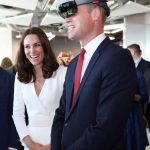 The Duke and Duchess both tried on virtual reality headsets showing them a view of Warsaw Photo C EPA