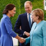 The Duke and Duchess of Cambridge are greeted by German Chancellor Angela Merkel at the chancellery in Berlin