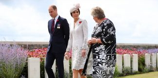 The Duke and Duchess of Cambridge speak with Victoria Wallace Director General of the Commonwealth War Graves Commission