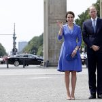 The Duke and Duchess wave to wellwishers as they visit the historic Brandenburg Gate in Berlin the citys most famous landmark