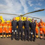 The Duke of Cambridge Poses for a final photo with both day and night shift crews as he starts his final shift with the East Anglian Air Ambulance based at Marshall Airport near Cambridge. (Left to right) CCP Gary spitzer, Dr Karen Rhodes, Dr Adam Chesters, Prince William, Cpt Matt Sandbach, Cpt Dave Kelly, Pilot Olly Gates, Dr Tobias Gouse and CcpCarl Smith. Picture: Heathcliff O'Malley/The Daily Telegraph/PA Wire