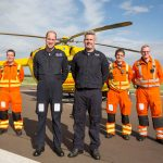 The Duke of Cambridge Poses for a final photo with the night shift crew as he starts his final shift with the East Anglian Air Ambulance based at Marshall Airport near Cambridge on July 27 Photo 1 1