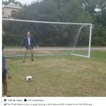 The Duke takes a turn in goal during a kick about with a team from the Wildcats Girls Football programme Photo C INSTAGRAM