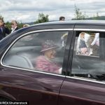 The Queen appeared in good spirits as she made her way through the crowds to the castle