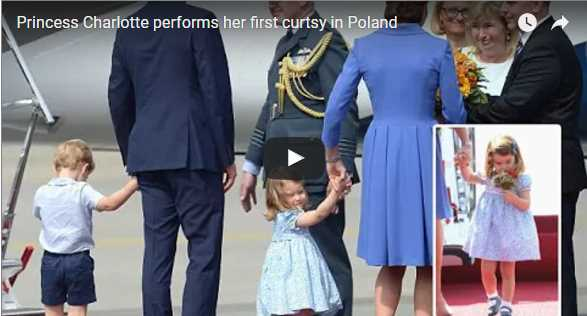 The adorable Princess Charlotte Elizabeth Diana first ever public curtsy on royal duty
