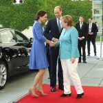 The diplomatic Duchess donned Cornflower blue to meet with the German Chancellor Angela Merkel who looked smart in a turquoise jacket and white trousers