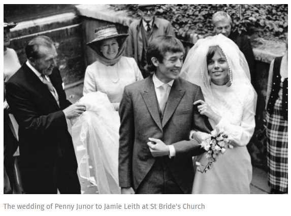 The wedding of Penny Junor to Jamie Leith at St Bride's Church