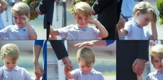 This collage of six pictures created on July 19 2017 shows Britains Prince George holding the hand of his father Prince William Duke of Cambridge upon their arrival at the airport in Berlin