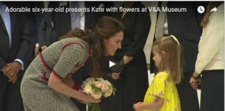 Watch Video Adorable six year old presents Kate with flowers at VA Museum