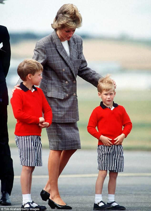 While William was 15 and becoming aware of his responsibilities and the importance of his role and future, Diana hadn't had time to 'finish' Harry. The trio are pictured here at Aberdeen Airport in 1
