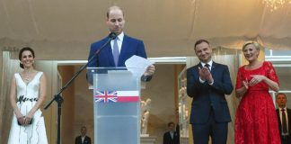 William made a short speech to the 600 guests at the Queen's birthday party event Photo (C) EPA