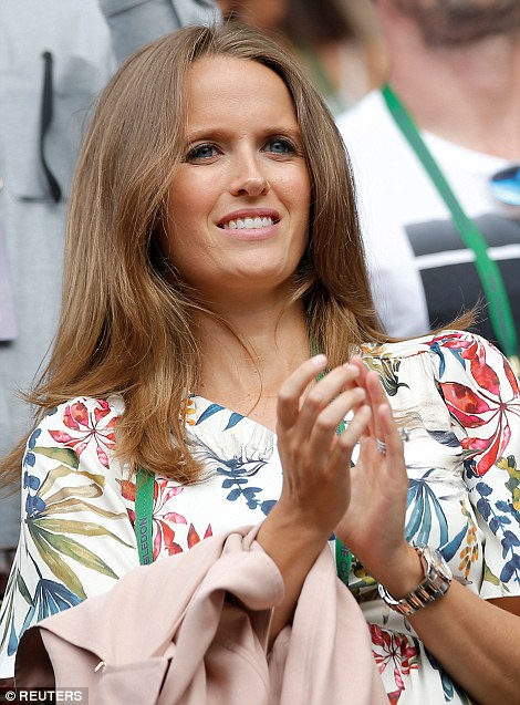 his wife Kim Sears, 30, was equally thrilled and relieved as she applaudedhis wife Kim Sears, 30, was equally thrilled and relieved as she applauded her husband her husband
