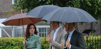 01 The three head to the White Garden to mark the 20th anniversary of the Princes mothers death Image PA