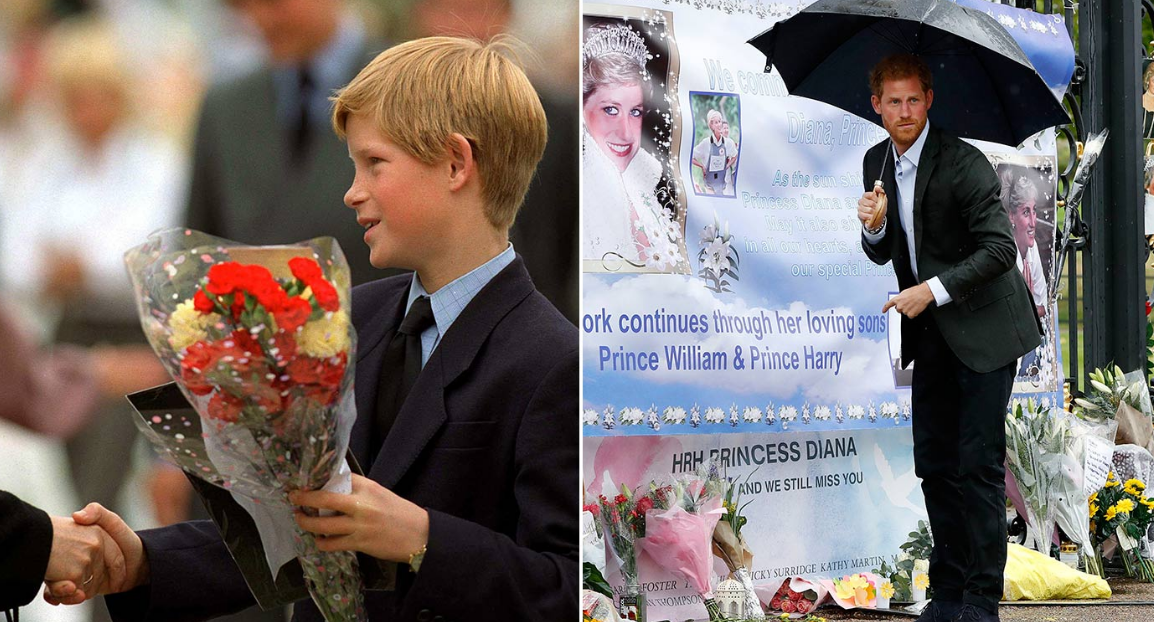 A 12-year-old Harry in 1997, and pictured yesterday ahead of the 20th anniversary of his mother's death (Picture PA REX)