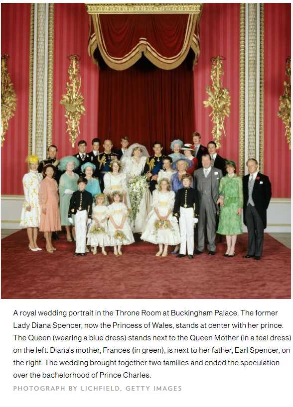 A royal wedding portrait in the Throne Room at Buckingham Palace. The former Lady Diana Spencer