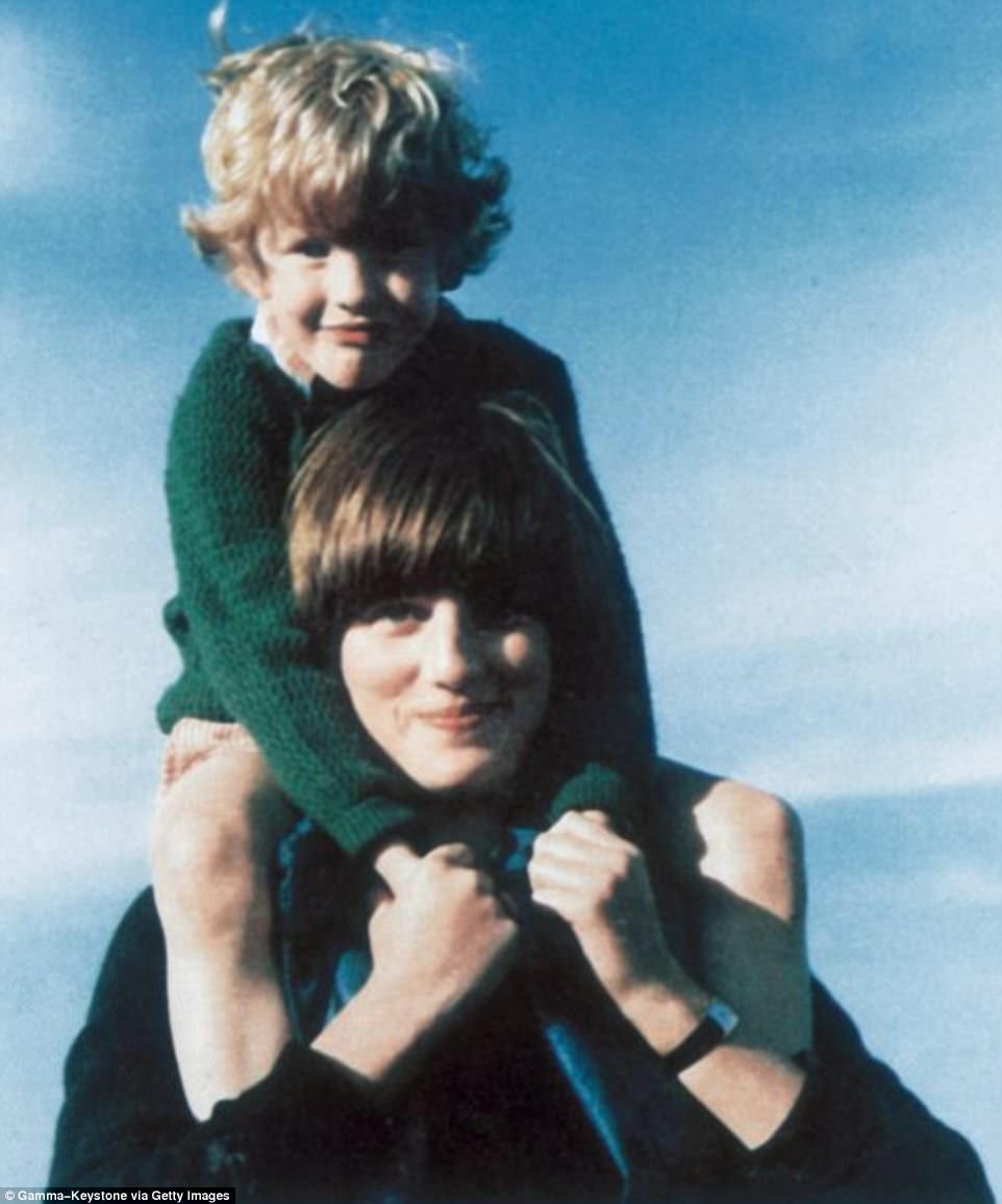 A teenage Diana carries Jamie Polk, the son of family friends, on her shoulders during a cricket match at Althorp in 1979