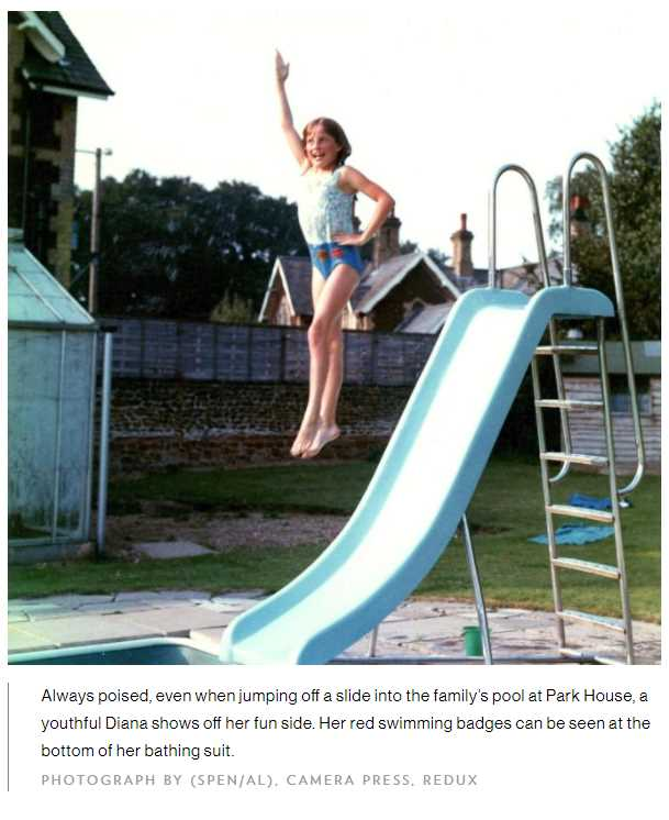 Always poised, even when jumping off a slide into the family's pool at Park House, a youthful Diana shows off her fun side