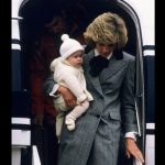 Diana Princess of Wales carries her son Prince Harry off a flight at Aberdeen Airport. 01 01 1981 Photo C GETTY
