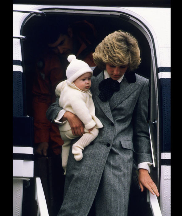 Diana, Princess of Wales carries her son, Prince Harry, off a flight at Aberdeen Airport. 01 01 1981 Photo (C) GETTY