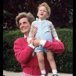 Diana Princess of Wales holds onto Prince Harry at Highgrove Photo C GETTY