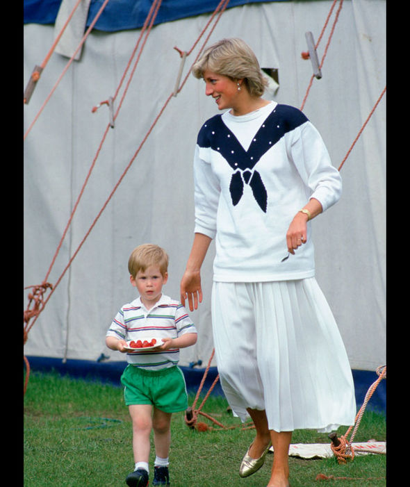 Diana, Princess of Wales with Prince Harry carrying a plate of strawberries. 14 06 1987 Photo (C) GETTY IMAGES