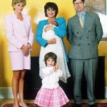 Diana at the christening of Rosa and Dominic's daughter Domenica in 1995 with their other daughter Savannah
