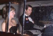 Diana in black dress with Charles en route to first public engagement Photo (C) GETTY IMAGES