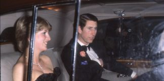 Diana in black dress with Charles en route to first public engagement Photo C GETTY IMAGES