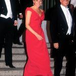 Diana leaving a gala dinner in Washington DC wearing a red Victor Edelstein dress October 1990 two years before she and Charles officially divorced
