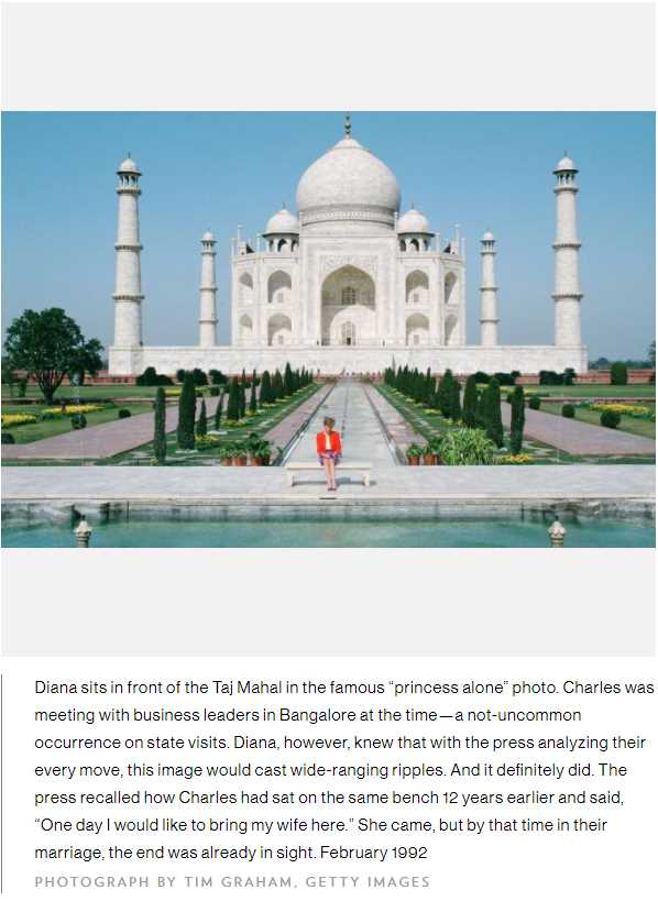 "Diana sits in front of the Taj Mahal in the famous ""princess alone"" photo. Charles was meeting with business leaders in Bangalore at the time"