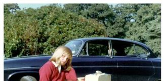 Diana sits on her suitcases as she prepares to go to boarding school at Riddlesworth Hall in the fall of 1970